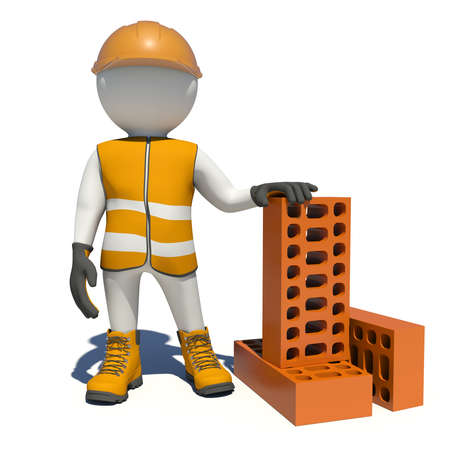 red brick: Worker in vest, shoes and helmet holding big red brick. Isolated render on white background