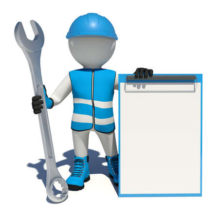 clipboard isolated: Worker in vest, shoes and helmet holding wrench and clipboard. Isolated render on white background
