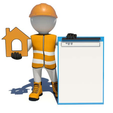clipboard isolated: Worker in vest, shoes and helmet holding house icon and empty clipboard. Isolated render on white background Stock Photo