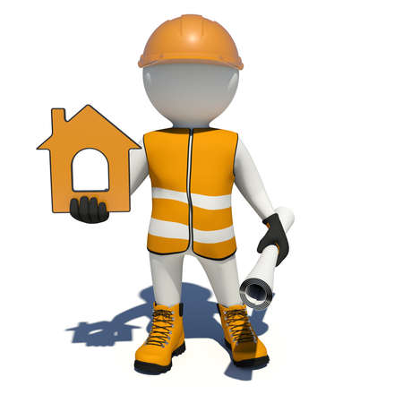 vest in isolated: Worker in vest, shoes and helmet holding house icon and scroll paper. Isolated render on white background