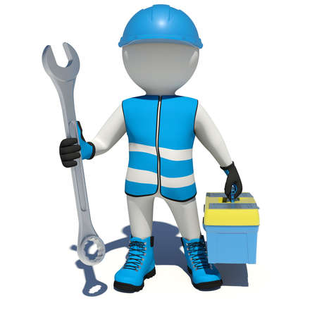 tool box: Worker in vest, shoes and helmet holding wrench and tool box. Isolated render on white background