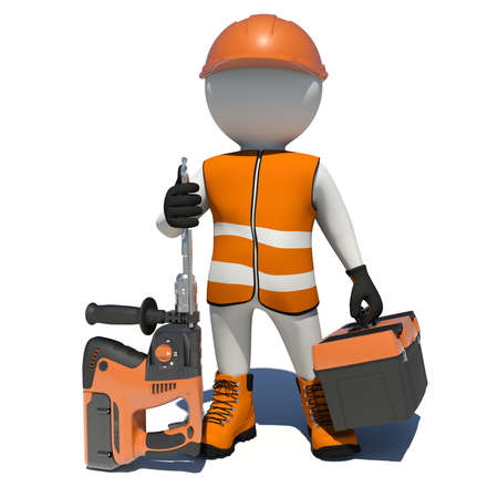 vest in isolated: Worker in vest, shoes and helmet holding electric perforator and tool box. Isolated render on white background