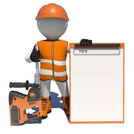 clipboard isolated: Worker in vest, shoes and helmet holding electric perforator and empty clipboard. Isolated render on white background