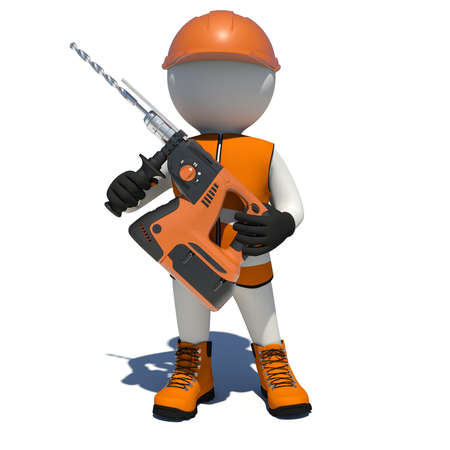 perforator: Worker in overalls holding electric perforator. Isolated render on white background