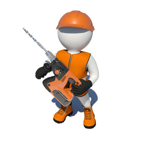 perforator: Worker in vest, shoes and helmet holding electric perforator. Top view. Isolated render on white background