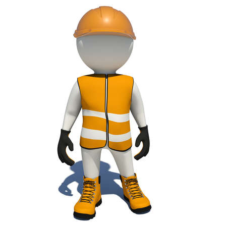 shoe repair: Worker in orange vest, shoes and helmet. Isolated render on white background