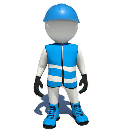 blue shoes: Worker in blue vest, shoes and helmet. Isolated render on white background