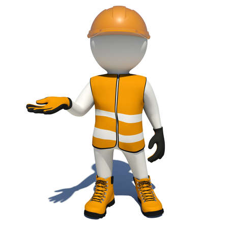 vest in isolated: Worker in orange vest, shoes and helmet holding empty palm up. Isolated render on white background