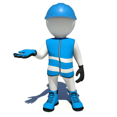 blue shoes: Worker in blue vest, shoes and helmet holding empty palm up. Isolated render on white background