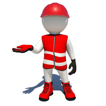 vest in isolated: Worker in red vest, shoes and helmet holding empty palm up. Isolated render on white background Stock Photo