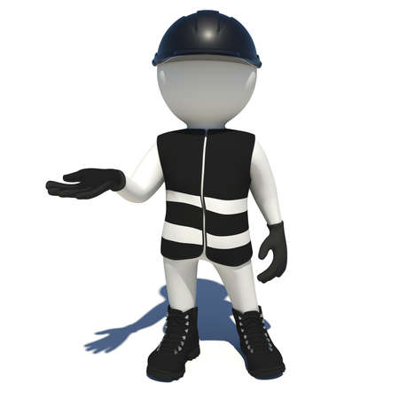 vest in isolated: Worker in black vest, shoes and helmet holding empty palm up. Isolated render on white background Stock Photo