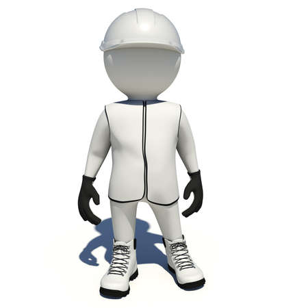 Worker in white vest, shoes and helmet. Isolated render on white background
