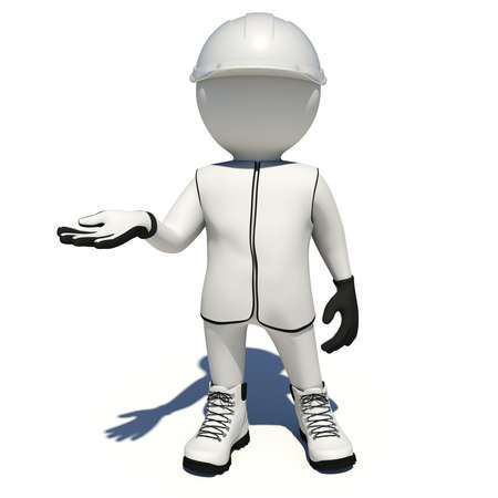 vest in isolated: Worker in white vest, shoes and helmet holding empty palm up. Isolated render on white background Stock Photo