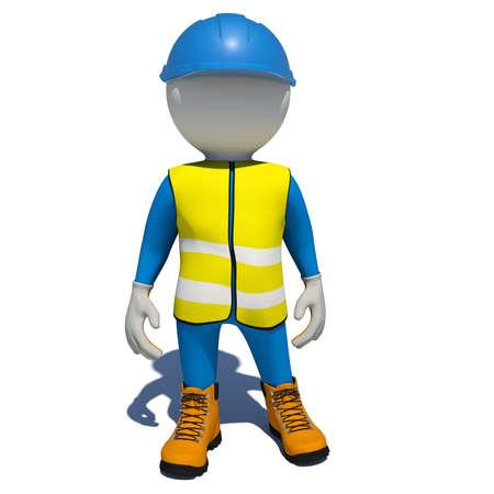 노란색 조끼, 오렌지 신발 및 파란색 헬멧에있는 노동자. 흰색 배경에 고립 된 렌더링