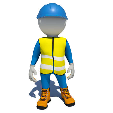 Worker in yellow vest, orange shoes and blue helmet. Isolated render on white background Foto de archivo