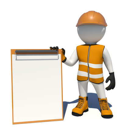 Worker in vest, shoes and helmet holding empty clipboard. Isolated render on white background