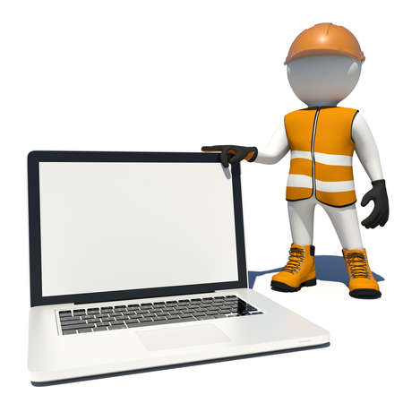 Worker in vest, shoes and helmet holding laptop white empty screen. Isolated render on white background Reklamní fotografie