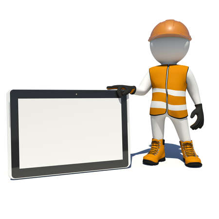 Worker in vest, shoes and helmet holding tablet pc with empty touch screen. Isolated render on white background