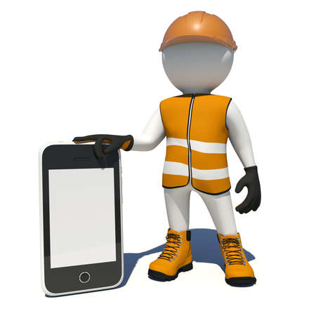 holding smart phone: Worker in vest, shoes and helmet holding smart phone with empty screen. Isolated render on white background
