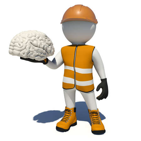 vest in isolated: Worker in vest, shoes and helmet holding white brain. Isolated render on white background