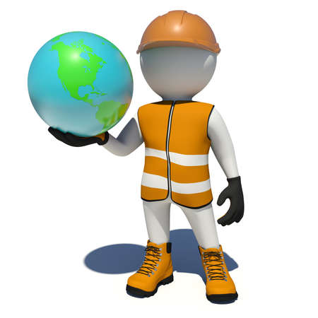Worker in vest, shoes and helmet holding Earth. Isolated render on white background photo
