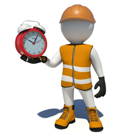 vest in isolated: Worker in vest, shoes and helmet holding red alarm clock. Isolated render on white background Stock Photo