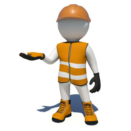 vest in isolated: Worker in vest, shoes and helmet holding empty palm up. Isolated render on white background
