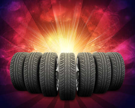 vulcanization: Wedge of new car wheels. Abstract red background is galaxy and stripes at bottom