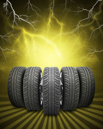 vulcanization: Wedge of new car wheels. Abstract yellow background with lightning and stripes at bottom