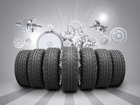 wedge: Wedge of new car wheels. White gears with stripes at bottom as backdrop
