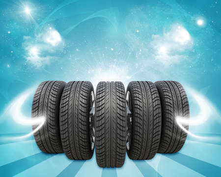 vulcanization: Wedge of new car wheels. Abstract blue background is magic sky and stripes at bottom Stock Photo