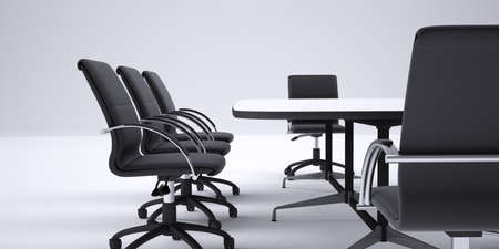 cropped image: Conference table and black office chairs. Cropped image. Gray gradient background