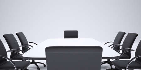 cropped image: Conference table and black office chairs. Cropped image. Gray background
