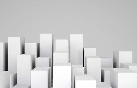 cropped: Many white cubes on gray background. Cropped image. Concept of urban construction Stock Photo