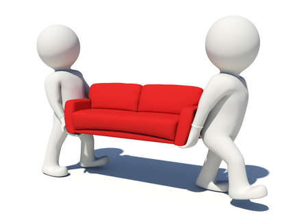 red couch: Two worker carrying red couch. Isolated render on white background