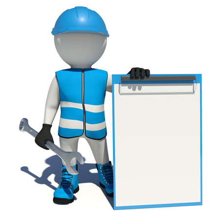 clipboard isolated: Worker in blue vest, shoes and helmet holding wrench and empty clipboard. Isolated render on white background