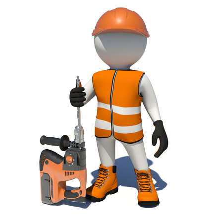 vest in isolated: Worker in vest, shoes and helmet holding electric perforator. Isolated render on white background