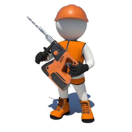 vest in isolated: Worker in vest, shoes and helmet holding electric perforator. Front view. Isolated render on white background