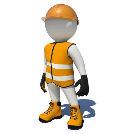 Arbeider in oranje overalls. Geïsoleerd render op een witte achtergrond