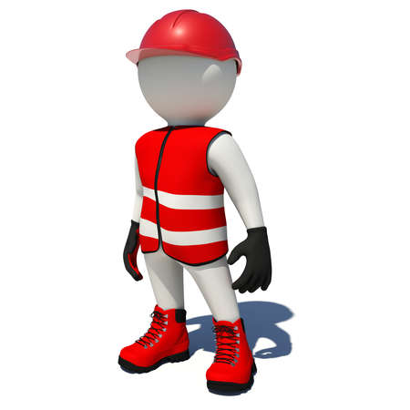 shoe repair: Worker in red overalls. Isolated render on white background Stock Photo