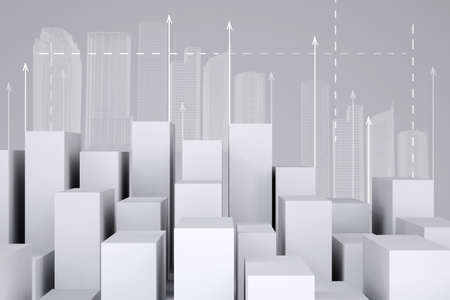 cropped image: Minimalistic city of white cubes with wire-frame buildings and arrows up on gray background. Cropped image. Concept of urban construction Stock Photo