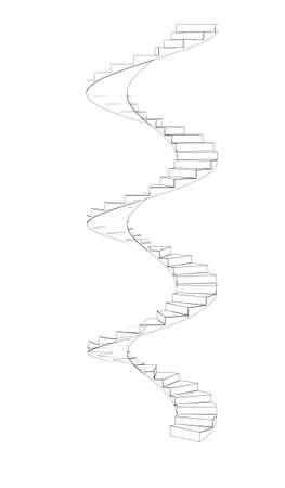 turns: Wire-frame spiral stairs. Three full turns. Isolated on white background Stock Photo