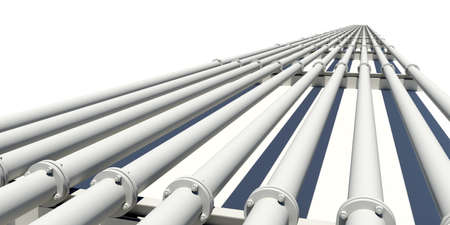 flanges: Many industrial pipes stretching into distance. Isolated on white background