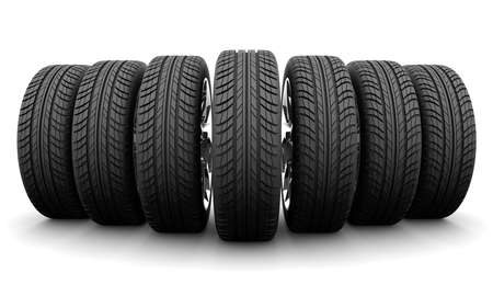 tire cover: Wedge of seven car wheels. Front view. Isolated on white background