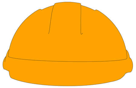 hard cap: Industrial orange hard hat. Front view. Vector illustration on white background