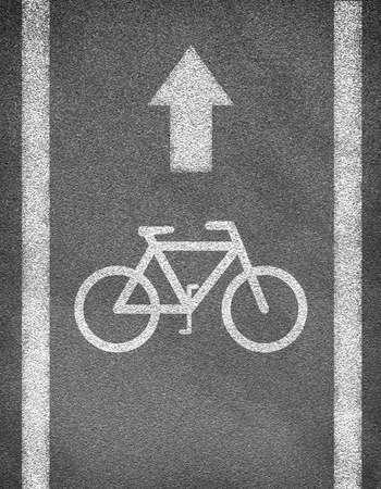 두 줄 및 자전거 기호 아스팔트 도로 텍스처. 비즈니스 개념