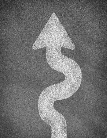 meanders: Asphalt road texture with winding arrow. Business concept Stock Photo