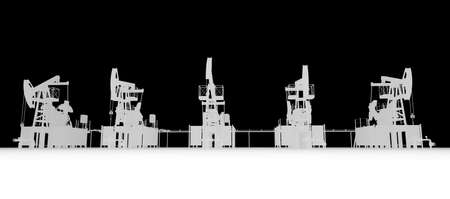 oilwell: Gray silhuettes of oil pump-jacks. Front view. Industry concept