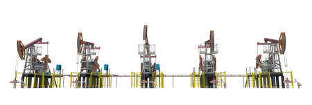 oilwell: Oil pump-jacks. Front view. Isolated render on white background