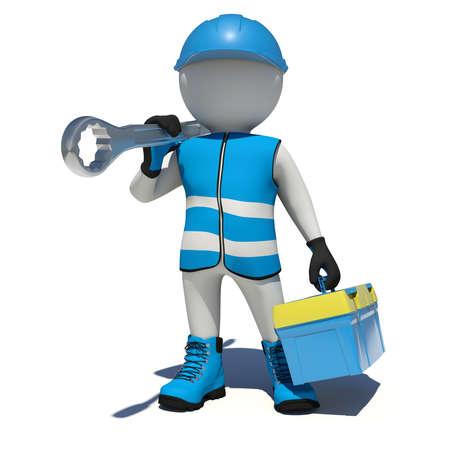Worker in overalls holding tool box and wrench on his shoulder. Front view. Isolated render on white background photo